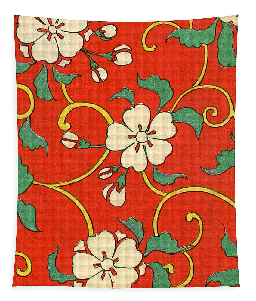 Red Tapestry featuring the painting Woodblock Print of Apple Blossoms by Japanese School