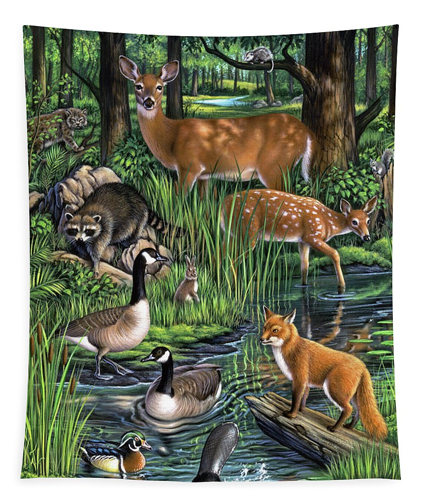 Animals Tapestry featuring the painting Woodland by Jerry LoFaro