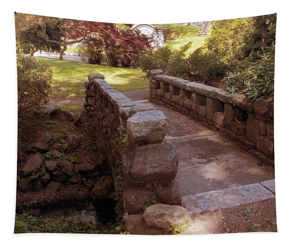 Stone Bridge Tapestry featuring the photograph Woodlawn Footbridge by Jessica Jenney