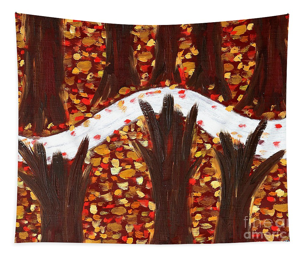 Woods Tapestry featuring the painting Woods In Autumn by Patrick J Murphy