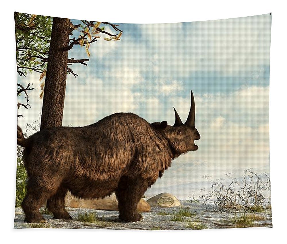 Animal Tapestry featuring the digital art Woolly Rhino by Daniel Eskridge