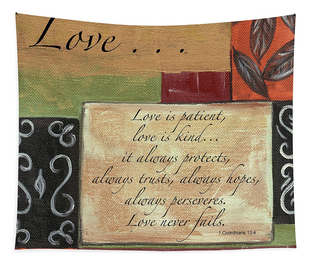 Love Tapestry featuring the painting Words To Live By Love by Debbie DeWitt