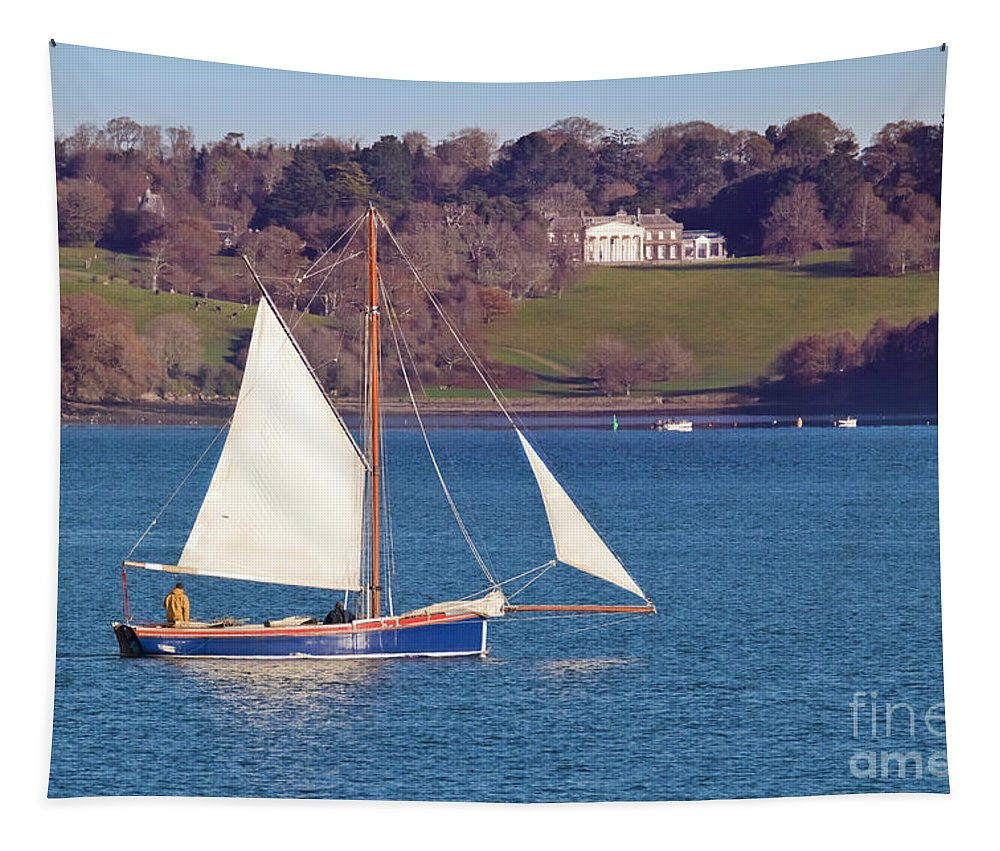 Trelissick Tapestry featuring the photograph Working Boat At Trelissick Cornwall by Terri Waters