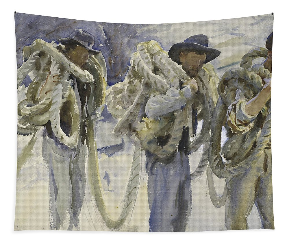 Sargent Tapestry featuring the drawing Workmen At Carrara by John Singer Sargent