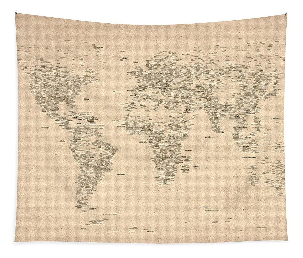 Map Of The World Tapestry featuring the digital art World Map Of Cities by Michael Tompsett