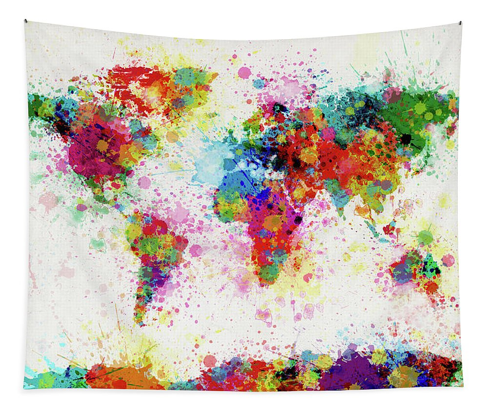 World Map Paint Drop Tapestry