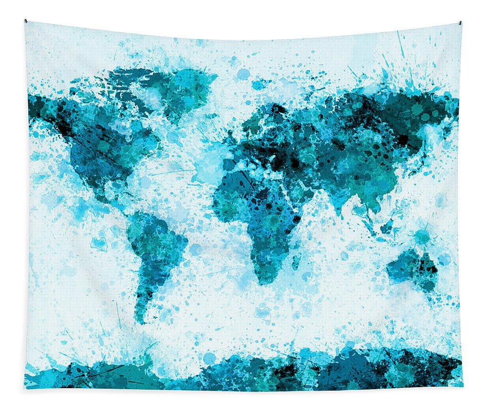 Map Of The World Tapestry featuring the digital art World Map Paint Splashes Blue by Michael Tompsett