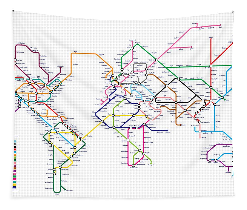 World Metro Tube Subway Map Tapestry For Sale By Michael Tompsett