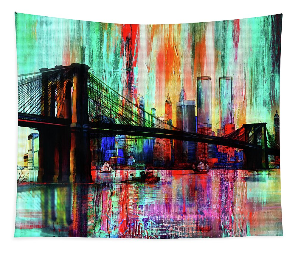 Nyc Tapestry featuring the painting World Trade Center 01 by Gull G