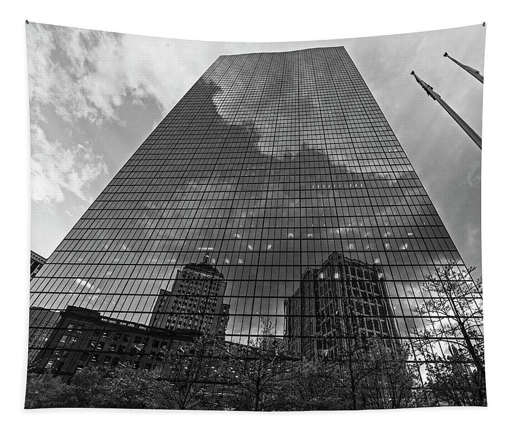 Boston Tapestry featuring the photograph World's Largest Canvas John Hancock Tower Boston Ma Black And White by Toby McGuire