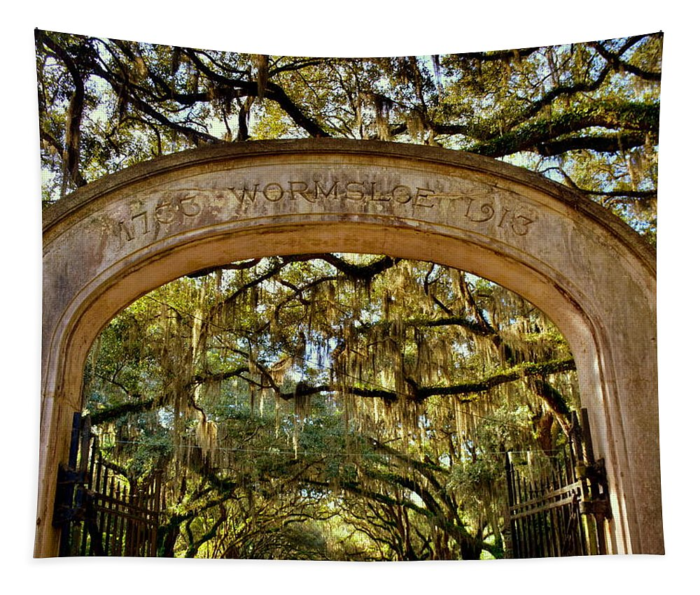 Wormsloe Historic Site Isle Of Hope Ga Tapestry featuring the photograph Wormsloe Plantation Isle Of Hope Ga by Lisa Wooten