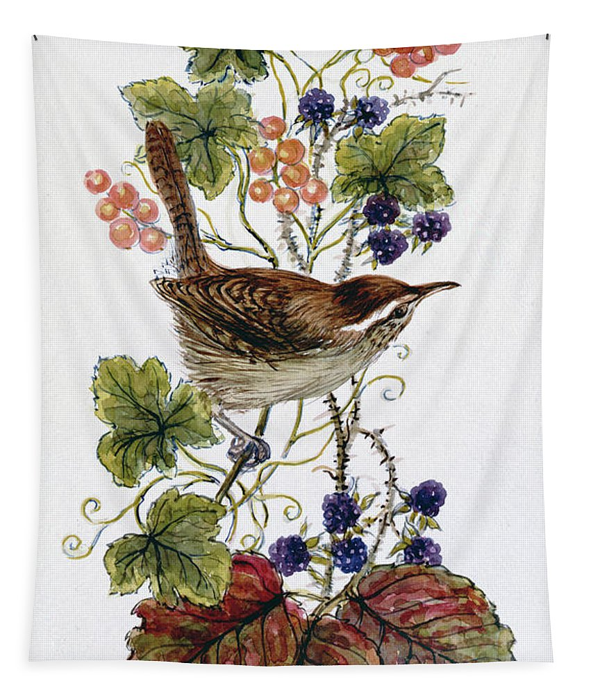 Wren Tapestry featuring the painting Wren On A Spray Of Berries by Nell Hill