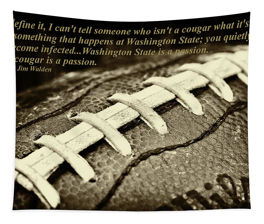 Wsu Cougar Quote Tapestry featuring the photograph Wsu Cougar Quote by David Patterson
