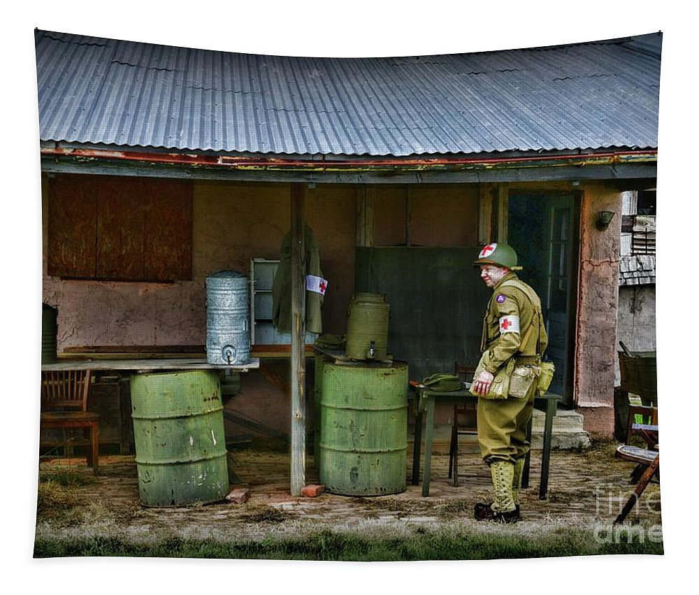 Paul Ward Tapestry featuring the photograph Ww2 American Medic by Paul Ward