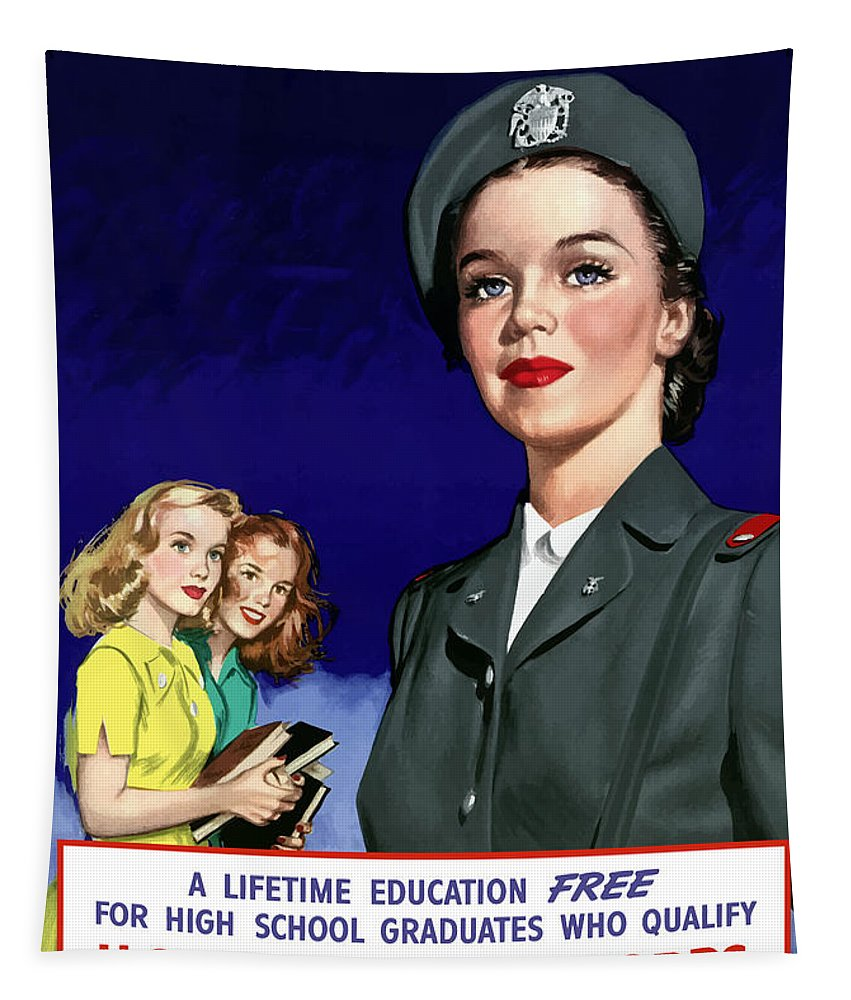 Nursing Tapestry featuring the painting Ww2 Us Cadet Nurse Corps by War Is Hell Store