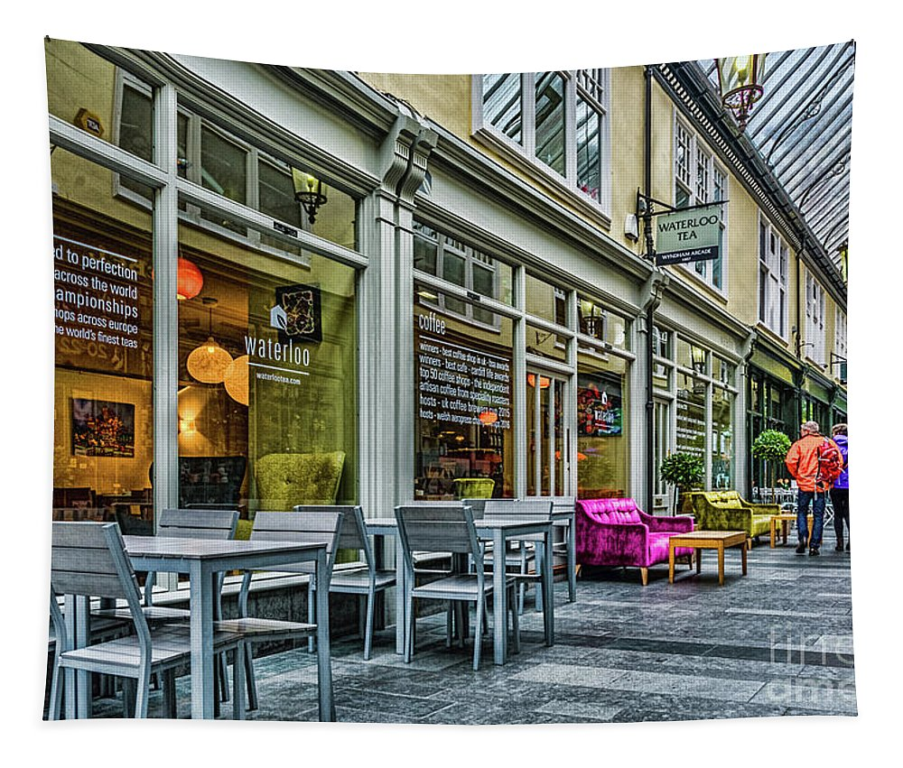 Coffee Shop Tapestry featuring the photograph Wyndham Arcade Cafe 3 by Steve Purnell