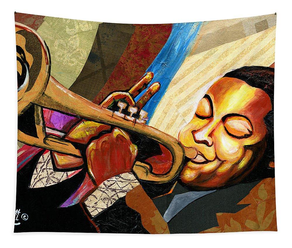 Everett Spruill Tapestry featuring the painting Wynton Marsalis by Everett Spruill