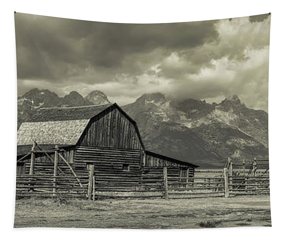 Silver Tapestry featuring the photograph Wyoming Mormon Row Moulton Barn Silver Panorama by James BO Insogna