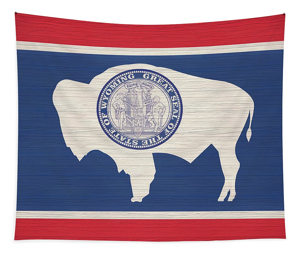 Wyoming Rustic Flag On Wood Tapestry featuring the mixed media Wyoming Rustic Flag On Wood by Dan Sproul