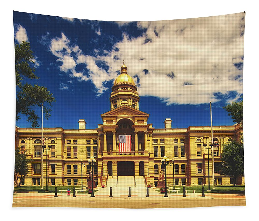 State Capitol Tapestry featuring the photograph Wyoming State Capitol - Cheyenne by Library Of Congress