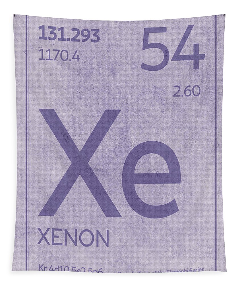 Xenon Tapestry featuring the mixed media Xenon Xe Element Symbol Periodic Table Series 054 by Design Turnpike