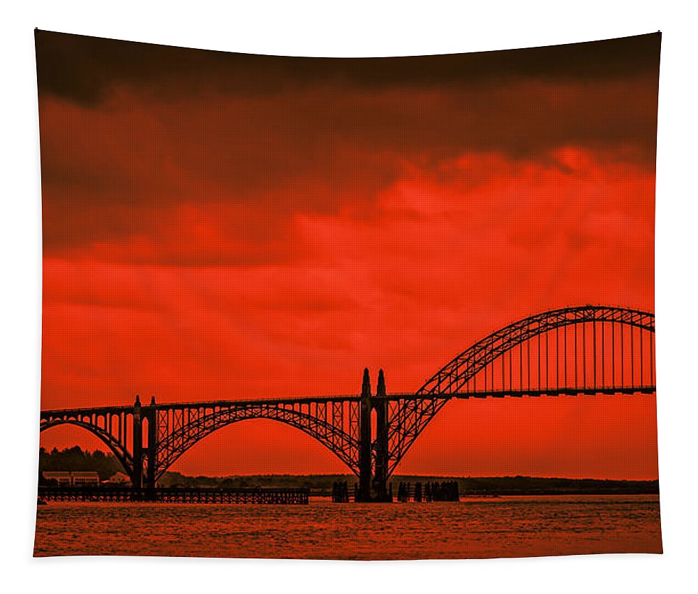 Autumn Tapestry featuring the photograph Yaquina Bay Bridge by Don Schwartz