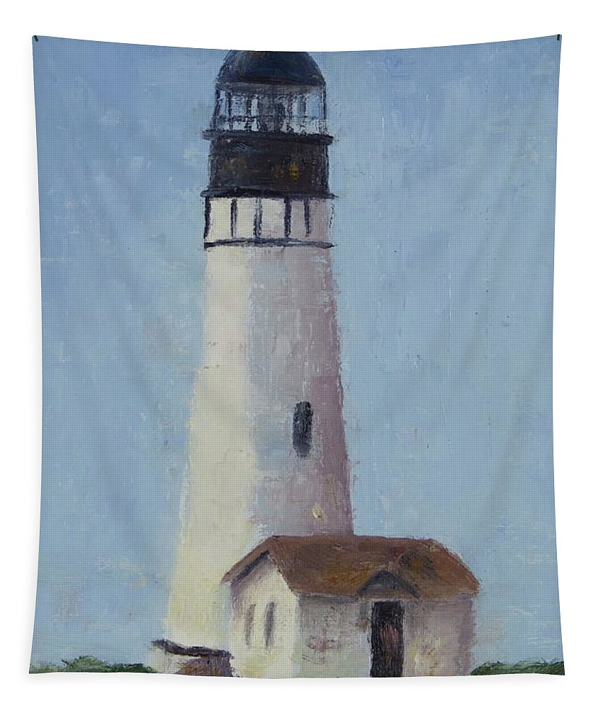 Yaquina Head Lighthouse Is Close To Newport Tapestry featuring the painting Yaqunia Head Lighthouse by Rosie Phillips