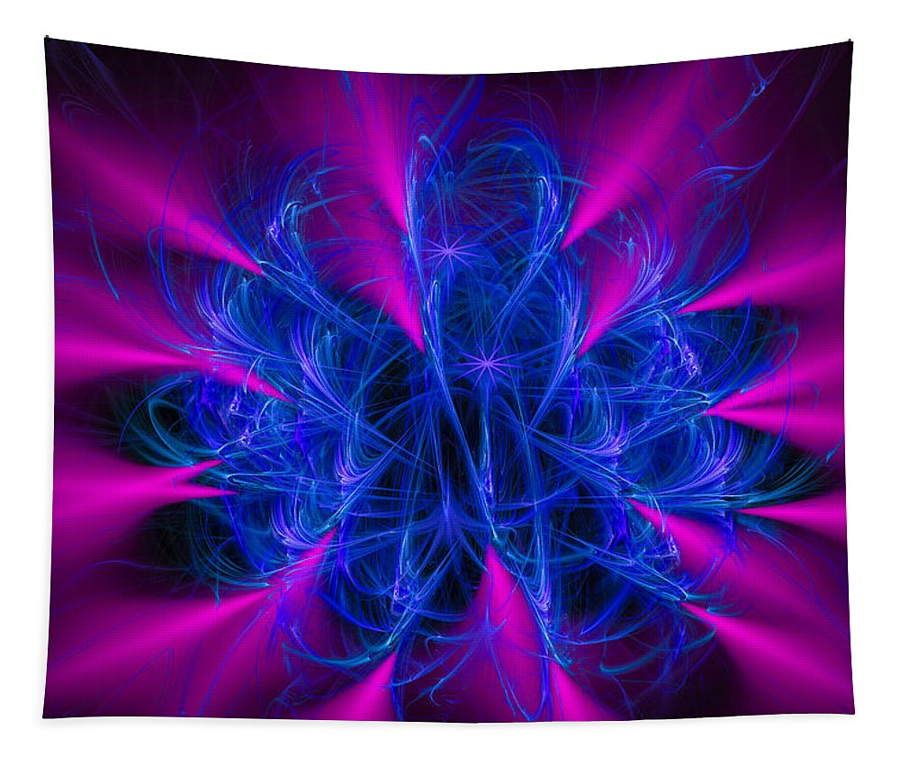 Pink Tapestry featuring the digital art Yarn In Space - Fractal Art Blue And Pink by Matthias Hauser