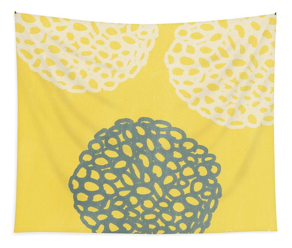 Yellow Tapestry featuring the painting Yellow and Gray Garden Bloom by Linda Woods