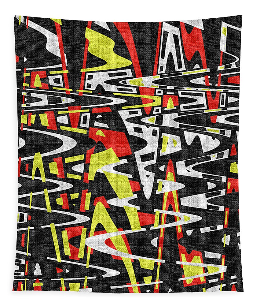 Yellow Black Red White Drawing Abstract Tapestry featuring the photograph Yellow Black Red White Drawing Abstract by Tom Janca
