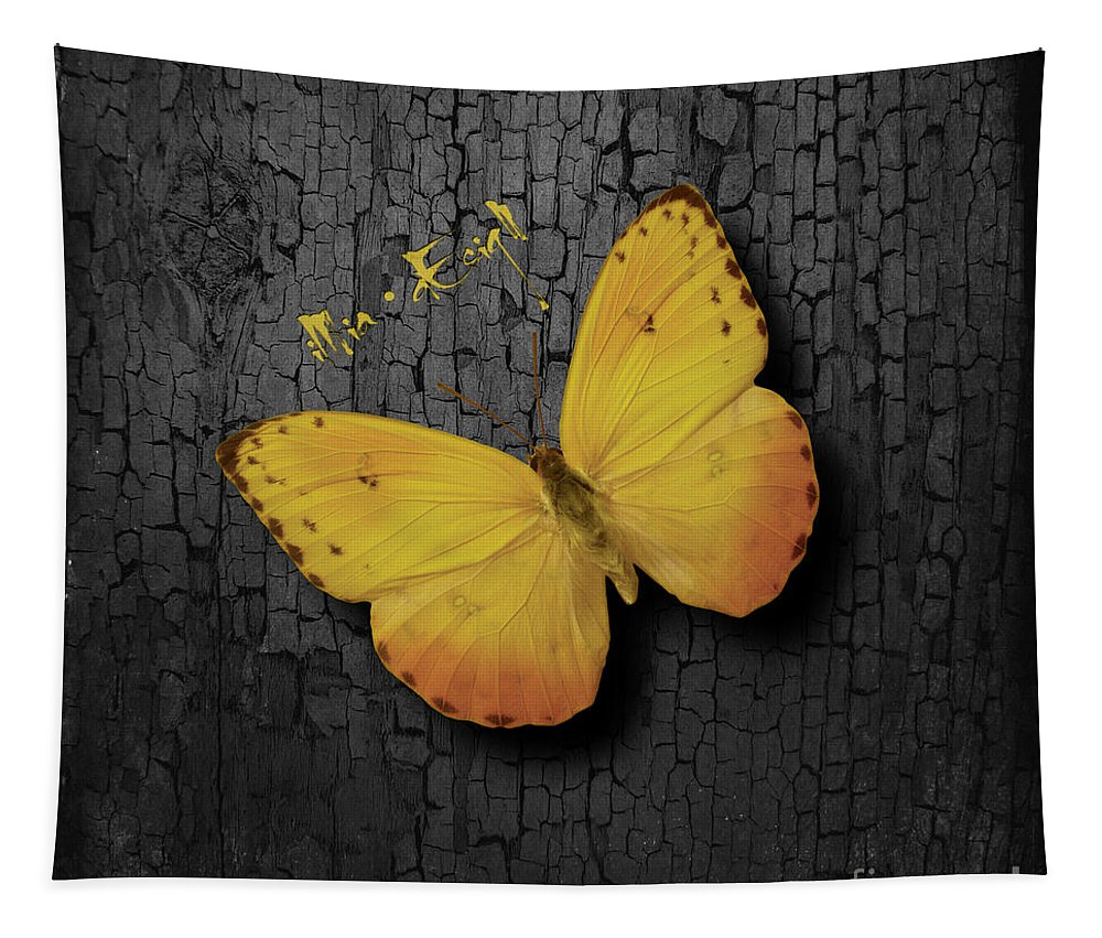 Imia Design Tapestry featuring the mixed media Yellow Butterfly by Maria Astedt