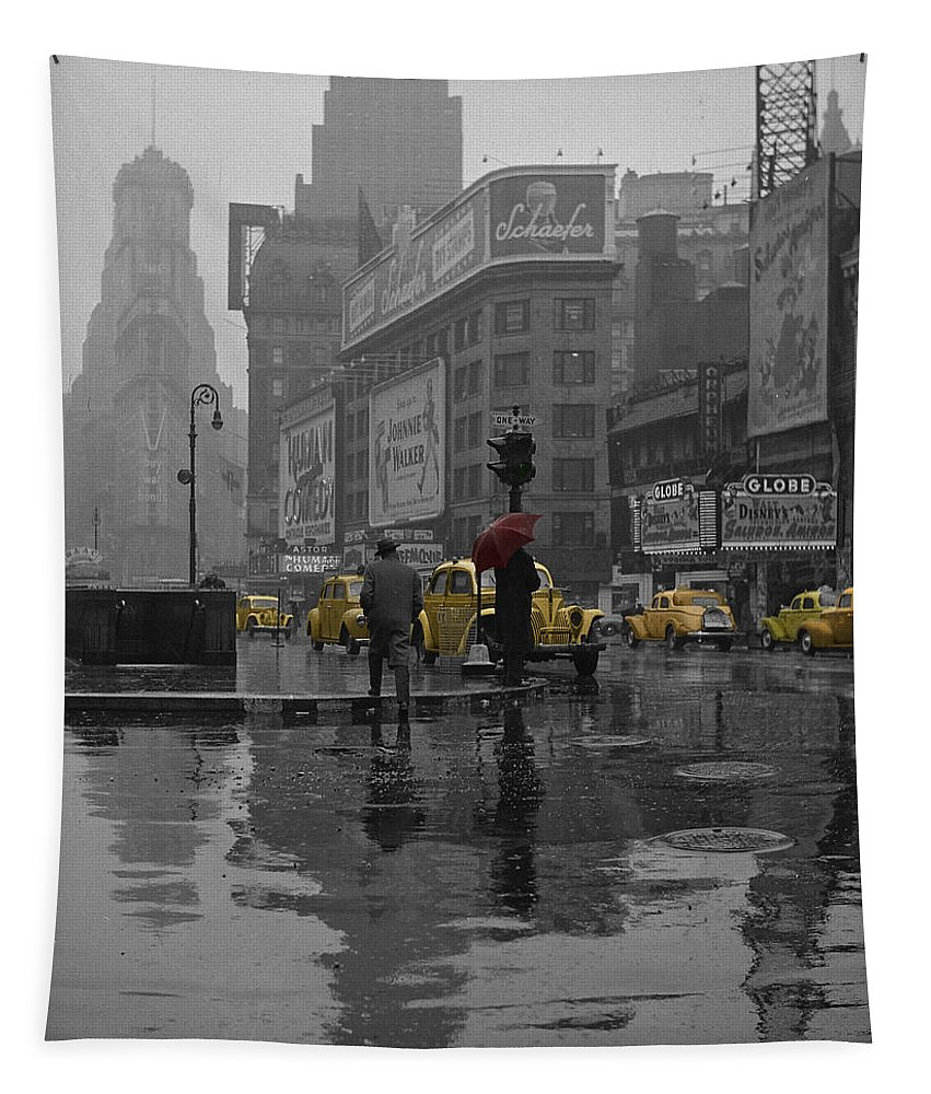 Times Square Tapestry featuring the photograph Yellow Cabs New York by Andrew Fare