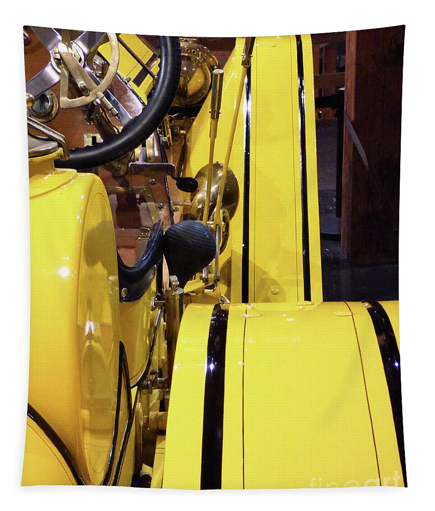 Automobile Tapestry featuring the photograph Yellow Classic by Sharon Eng