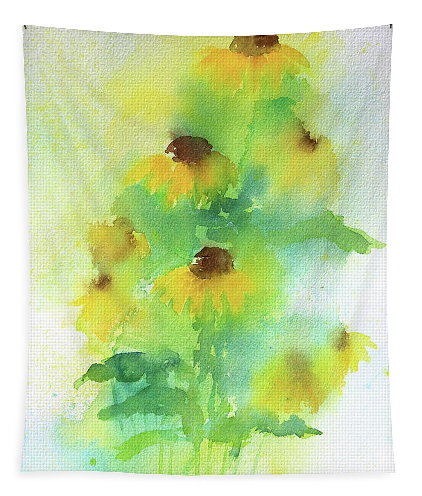 Coneflower Tapestry featuring the painting Yellow Coneflowers by Karen Kaspar
