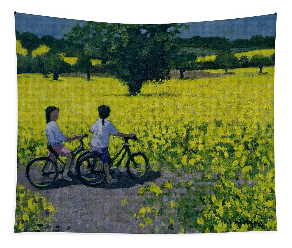Rapeseed Tapestry featuring the painting Yellow Field by Andrew Macara