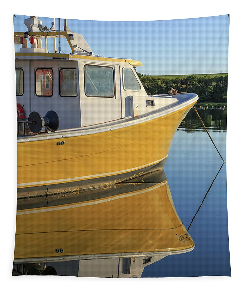 Marina Tapestry featuring the photograph Yellow Fishing Boat Early Morning by Edward Fielding