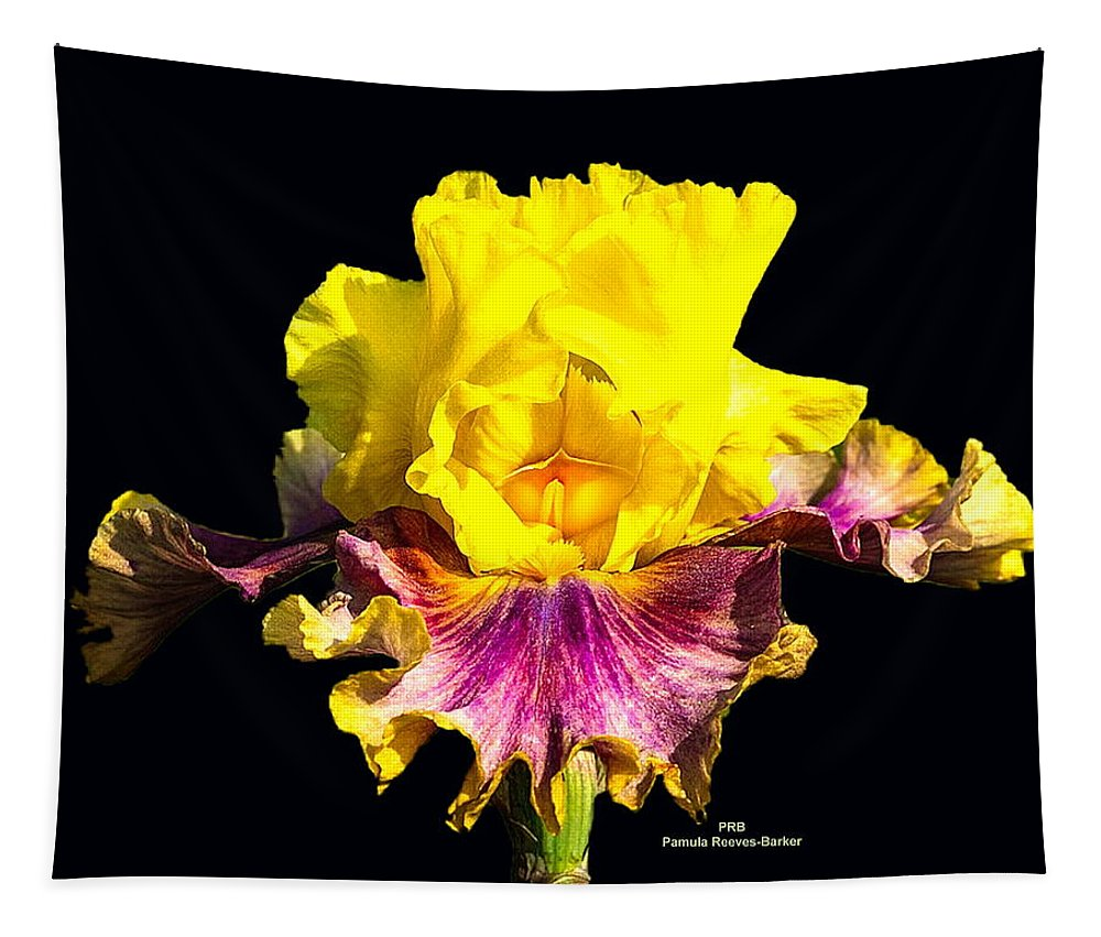 Flower Tapestry featuring the mixed media Yellow Flower On Black by Pamula Reeves-Barker