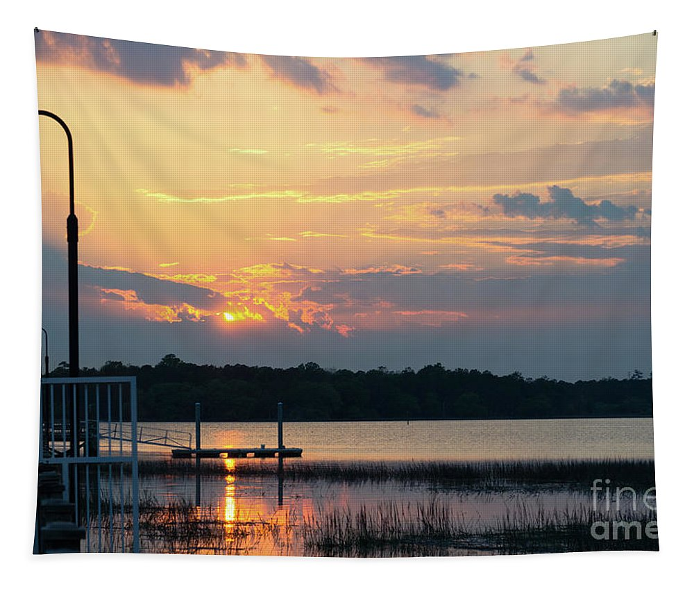 Sunset Tapestry featuring the photograph Yellow Gold Sunset Tapestry by Dale Powell