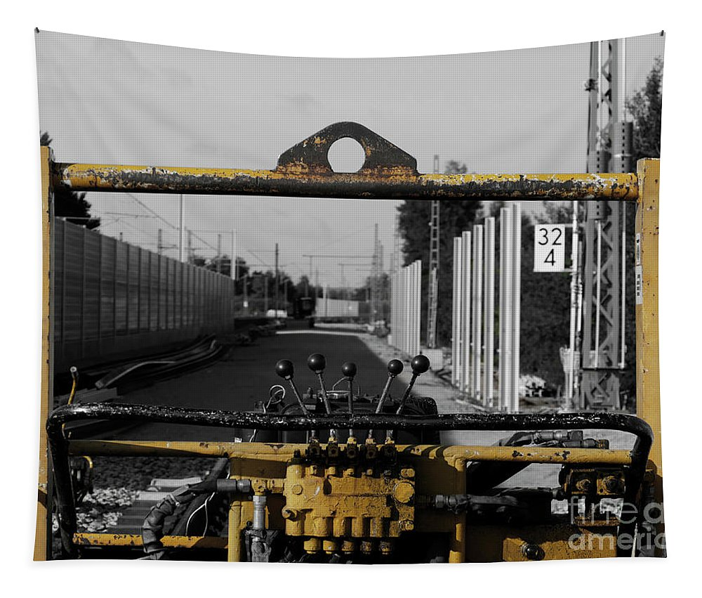 Selective Color Tapestry featuring the photograph Yellow Machine by Elisabeth Lucas