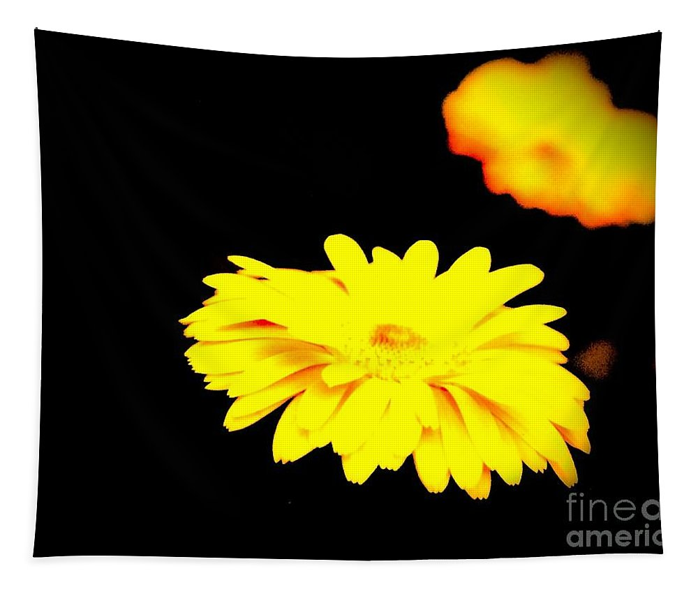Mum Tapestry featuring the digital art Yellow Mum On Black Backround by Debra Lynch
