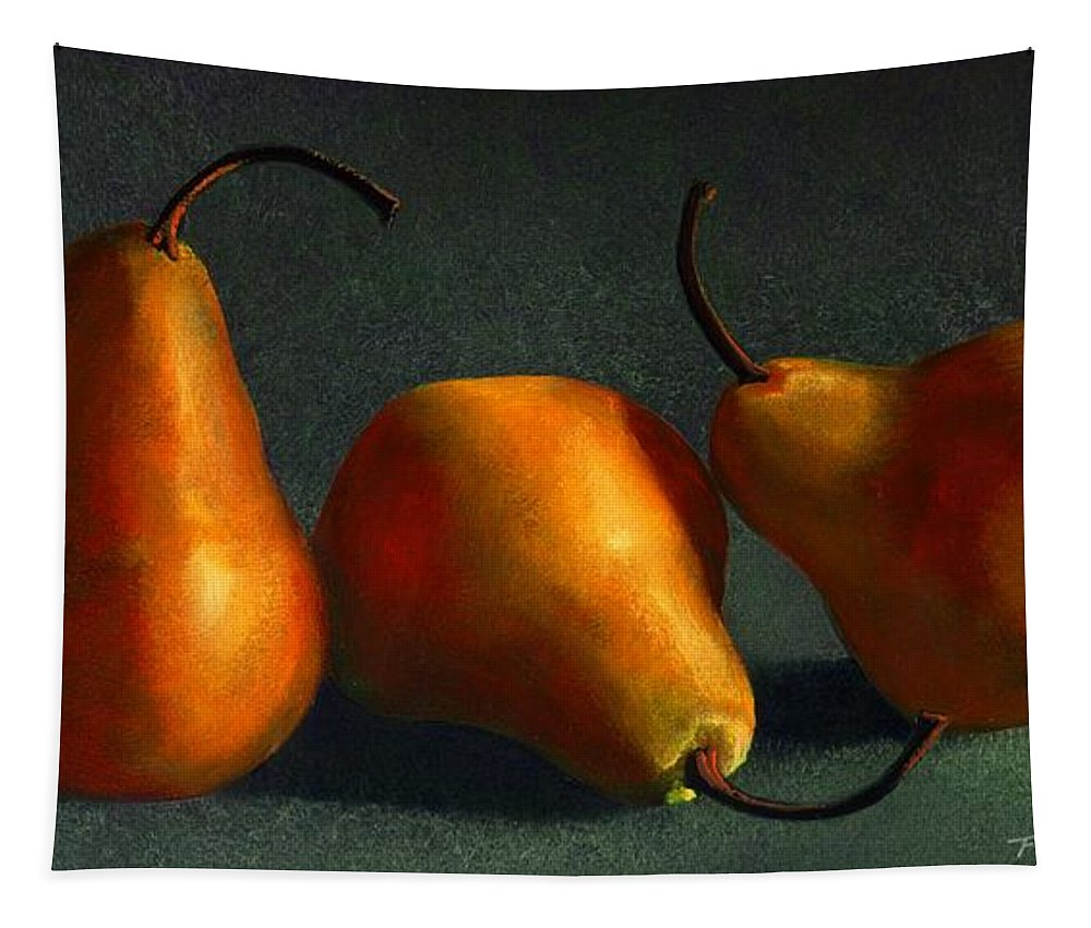 Still Life Tapestry featuring the painting Yellow Pears by Frank Wilson