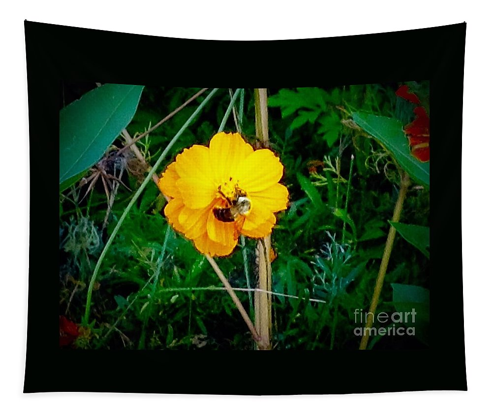 Floral Tapestry featuring the photograph Yellow Power by Debra Lynch