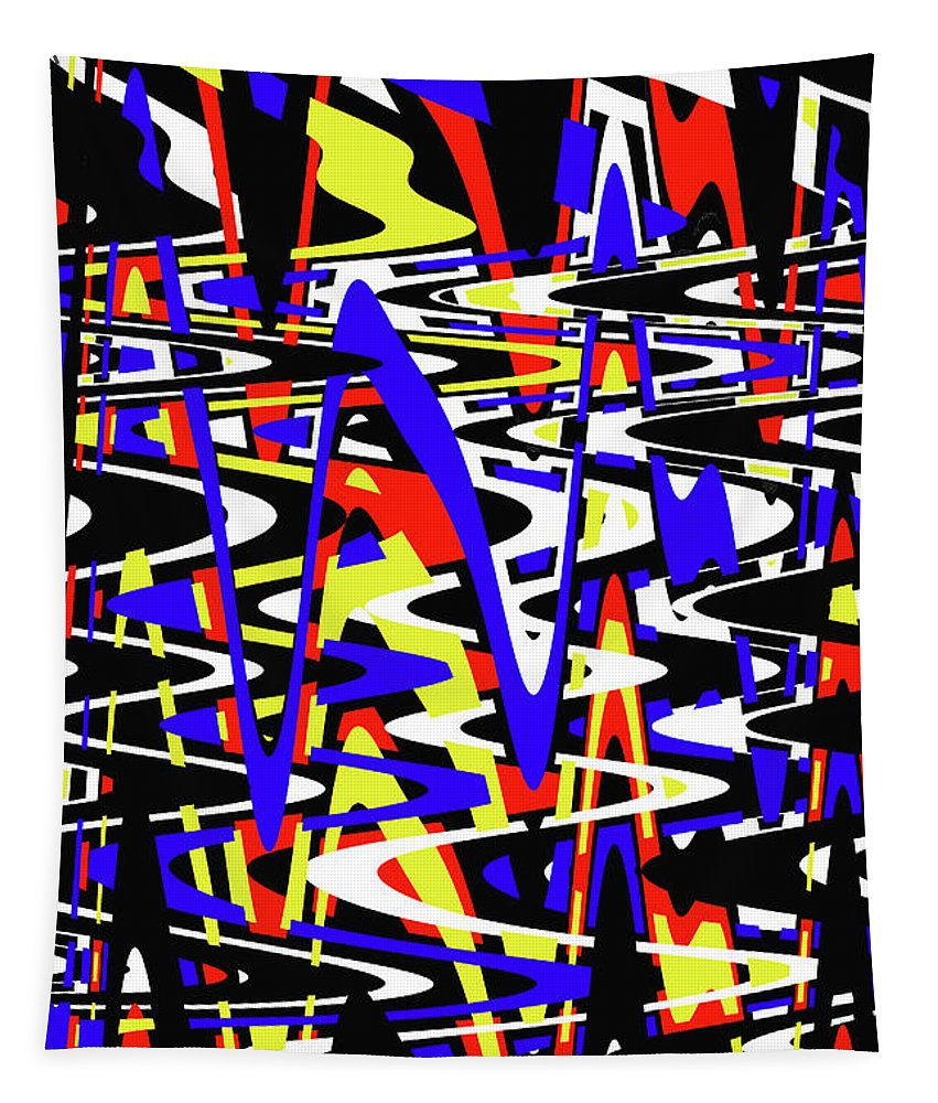 Yellow Red Blue Black And White Abstract Tapestry featuring the photograph Yellow Red Blue Black And White Abstract by Tom Janca