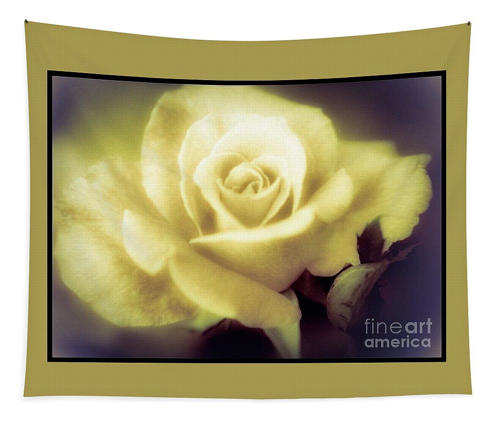 Rose Tapestry featuring the photograph Yellow Rose Smoky Misty Look by Debra Lynch