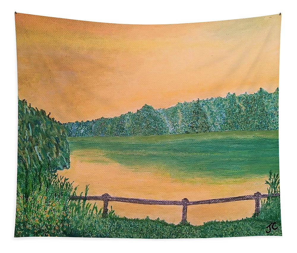 Sky Tapestry featuring the painting Yellow Sky by John Cunnane
