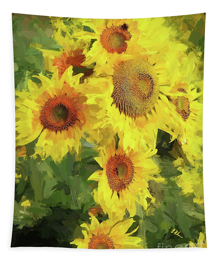 Sunflower Tapestry featuring the digital art Yellow Sunflowers by Tina LeCour
