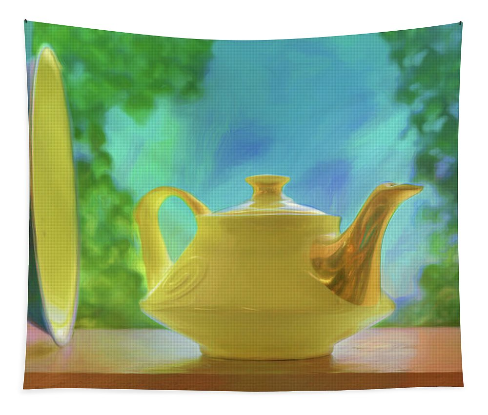 Still Life Tapestry featuring the photograph Yellow Teapot And Bowl by Nikolyn McDonald