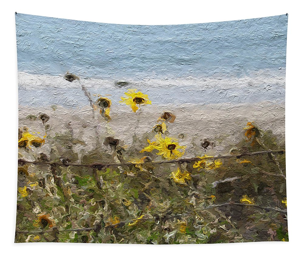 Yellow Tapestry featuring the painting Yellow Wildflowers- Art By Linda Woods by Linda Woods