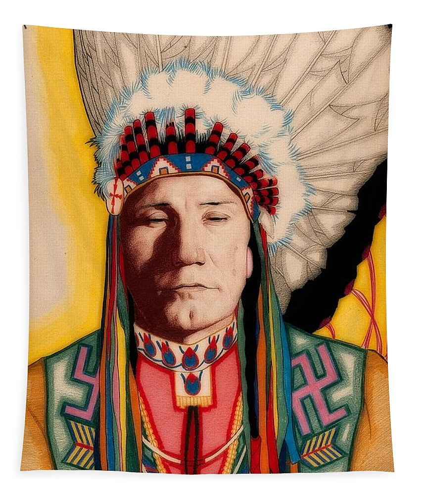Painting Tapestry featuring the painting Yellowhead, A North America Indian Medical Practitioner by Wilfred Kihn