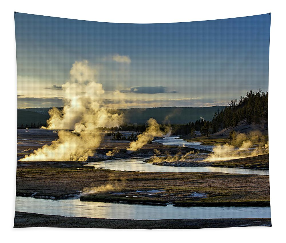 Yellowstone National Park Tapestry featuring the photograph Yellowstone's Midway Geyser Basin by Neal Herbert